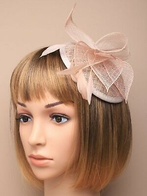 Nude Comb Feather Hat Fascinator Ladies Day Royal Ascot Weddings