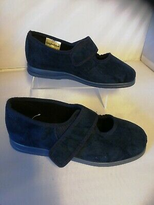 Ladies Cosyfeet size 7 extra roomy Skye Navy Blue New