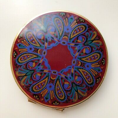 Vintage Stratton Gold Compact Case England Red Blue Enamel Pattern Mirror Puff