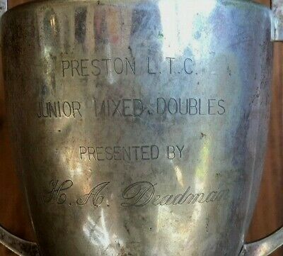 Preston Tennis Club vintage silver plate trophy, loving cup, trophies, trophy