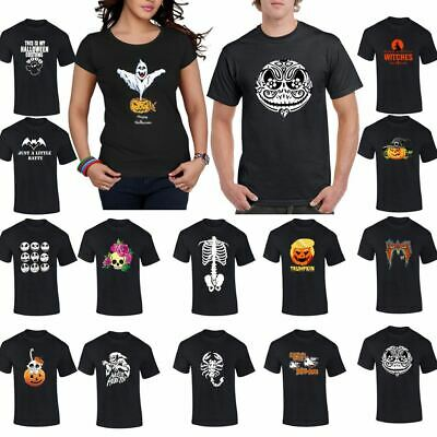 Scary T Shirt Halloween Print Mens Womens Top Boys Girls Spooky Tee Gym Wear Lot