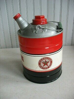 Vintage redone TEXACO GAS Kerosene CAN Station Oil Sign 1 Gallon Spout 2 lids