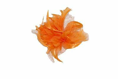 GIZZY®Ladies Orange Chiffon Flower Fascinator with Feather Tendrils on Hair C...