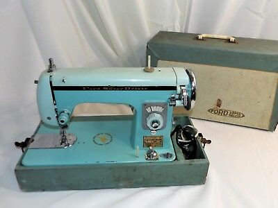 Vintage Ford Super Deluxe Sewing Machine, 2 Tone Teal, Buffalo, NY, Made by Koyo