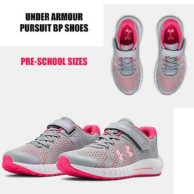Under Armour Shoes Little Kids Pursuit BP Girls Elastic Laces Sneakers NEW