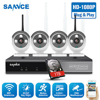 SANNCE 1080P/720P Security Camera System Wireless 8CH NVR Outdoor CCTV Video HDD