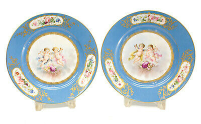 Pair Sevres France Hand Painted Porcelain Putti Cabinet Plates, c1900