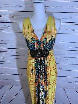 Women's ECI New York Strap Multi-Color Print Maxi Dress Size 10 Large