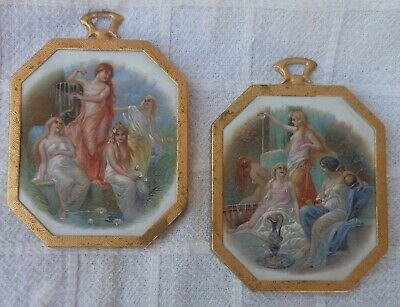 2 Small Choice Classical Scenes On Porcelain With Brass Frames