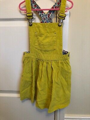 Mini Boden Girls Cord Pinafore Dress 4-5 Yellow, Floral, Lime