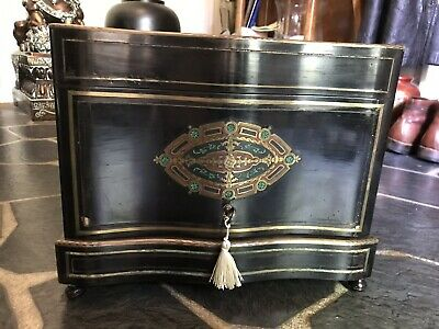 Antique French Ebonized&Brass Inlaid Mother of Pearl Decanter Cabinet Tantalus