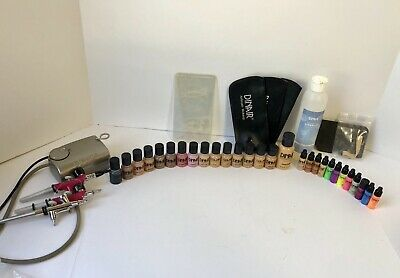 Dinair Airbrush Makeup Kit With Compressor And Lots Of Extras!! Foundation Etc.