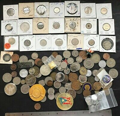 World US Coin, Medals, Tokens, Pins, Exonumia lot of over 100 items, circulated