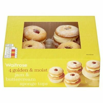 Waitrose Jam & Butter Cream Sponge Tops 4 per pack