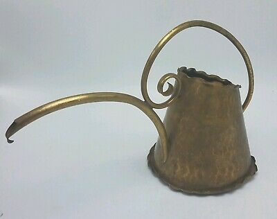 VINTAGE Hand Hammered Brass WATERING CAN CURVED SPOUT