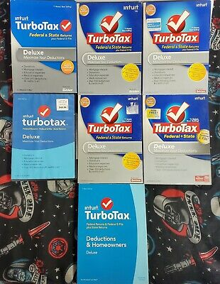 Intuit TurboTax  Deluxe Lot of 7 - 2008, 2009, 2010, 2011- 2013-2014-2016