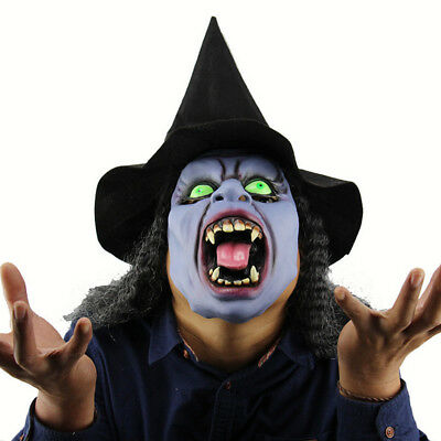 Scary Old Witches Zombie Mask with Black Hair Hat Horror Wizard Halloween Props