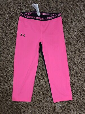 Girls Under Armour Pink Black Heatgear Capri Leggings Youth Large