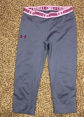 Girls Under Armour Grey Pink Heatgear Capri Leggings Youth Large