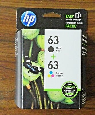 HP 63 Black & 63 Tricolor Original Ink Cartridges - Combo Pack New Free Shipping