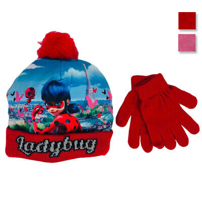 Set cappello e guanti invernale cappellino bambina Miraculous Lady Bug 1279
