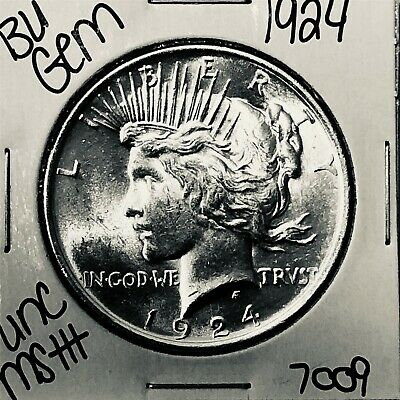 1924 Bu Gem Silver Peace Dollar Coin #7009 Free Shipping Unc Ms+++