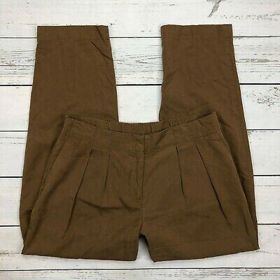 Chicos Soft Skimmer Pants Size 00 Womens 2 Brown Ankle Pleated Tencel Relaxed
