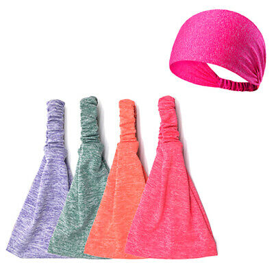 Mens Women Sweat Sweatband Headband Yoga Gym Running Stretch Sports Head B FA