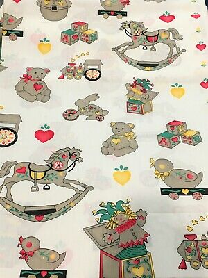 Vintage ANTIQUE TOYS Fabric Old Fashioned Novelty Children Applique Quilting YD