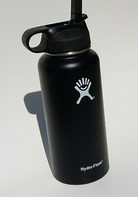 Hydro Flask Insulated Stainless Steel Water Bottle Straw Lid Wide Mouth Black