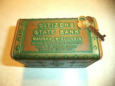 Treasure Chest Coin Bank Citizens State Bank Wausua, Wisc. 1 Key VINTAGE