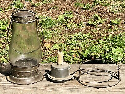 Early Antique Candle Lantern—Glass & Pierced Tin—Unique Removable Outer Cage