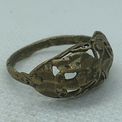 Late Or Post Medieval Brass Ring Floral Design European Old Artifact Jewelry