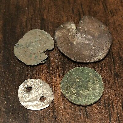 4 Authentic Medieval Coins Silver & Copper European Artifacts Antiquities Old