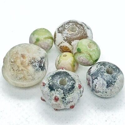 7 Late & Post Byzantine Colored Glass Beads Medieval Artifacts Antiquity Old