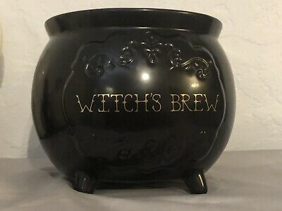 Magenta Rae Dunn Maker Halloween WITCH'S BREW Black Ceramic Cauldron Candy Bowl