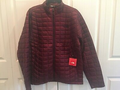 NWT The North Face Mens Thermoball Jacket Large L NEW Deep Garnet Red Full Zip