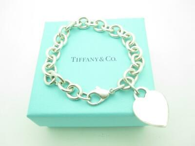 """Tiffany & Co. Sterling Silver Heart Tag Bracelet 7.5"""" With Gift Box"""