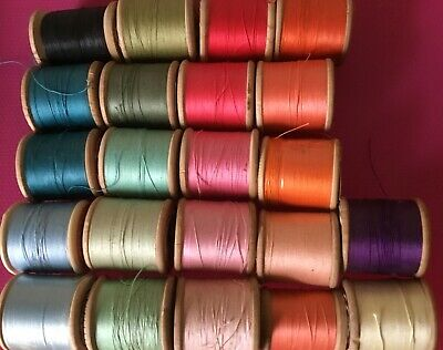 22 Vintage Wooden Cotton Reels  Assorted Colours. Free Postage