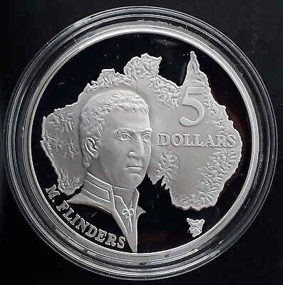 1993 Australia  Matthew Flinders 1 oz Silver (.925) Proof $5 coin
