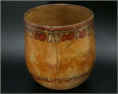 MV04 Antique Maya polychrome cylindrical vessel AD600-900 # Pre Columbian