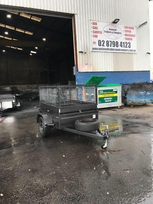 7x5high side box with trailer,600mm cage FREE 12MONTH REGO & SPARE WHEEL