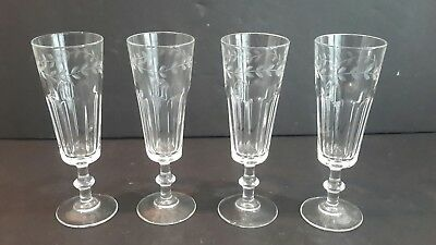Vintage Panel and Etched Champage Glass x 4