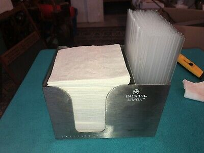 Rare Bacardi Rum Napkin And Straw Bar Caddy Stainless Steel