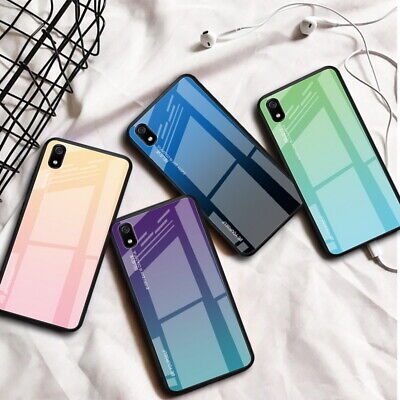 For Xiaomi Redmi Note 7 K20 Pro 7A Gradient Tempered Glass Hard Back Case Cover
