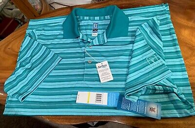 New Mens PGA Tour Golf Airflux Polo Shirt Short Sleeve Size Medium Stay Cool Dry