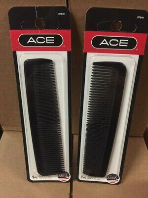 "(Lot of 2) ACE BLACK 5"" POCKET HAIR COMB - BUY MORE & SAVE 25% !! (NEW)"