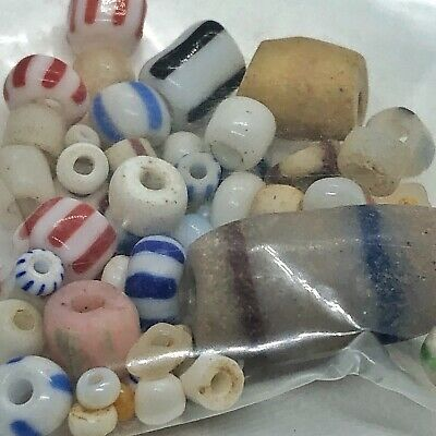 50 White Authentic Late & Post Medieval Mixed Beads Europe Phoenician Venetian