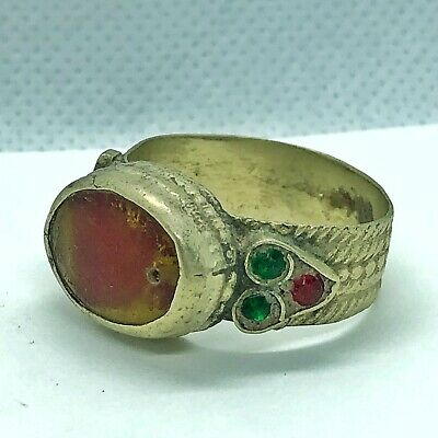 Late Or Post Medieval Ring With Red Stone European Old Antique Artifact Jewelry