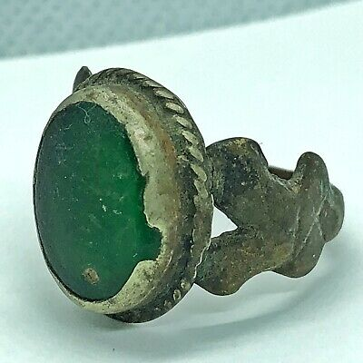 Late Or Post Medieval Ring W/ Green Stone European Old Antique Artifact Jewelry